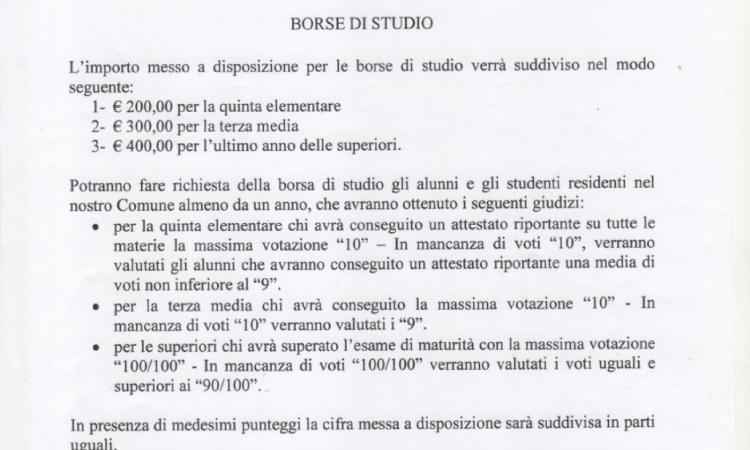 BORSE DI STUDIO A.S.2018/19