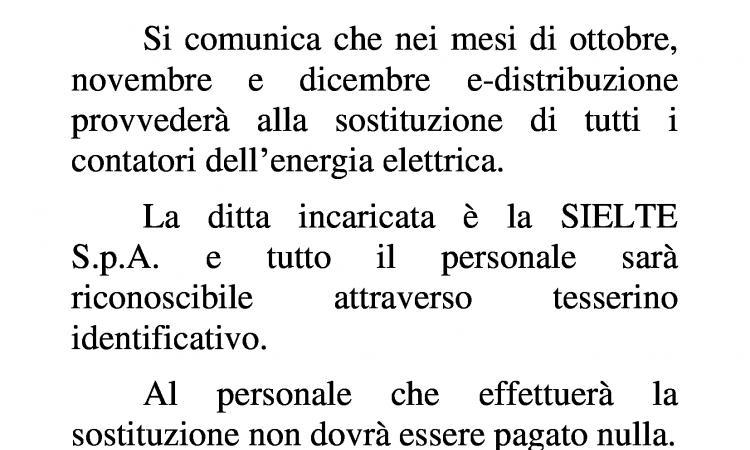 SOSTITUZIONE DEI CONTATORI DELL'ENERGIA ELETTRICA